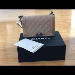 Authentic CHANEL Calfskin New Medium Boy Bag